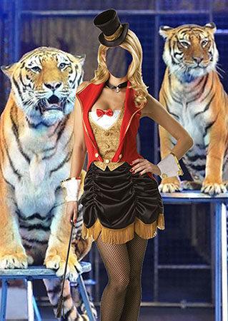 Женский фотошаблон - Укротительница тигров
