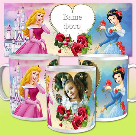Шаблон для кружки - Диснеевские принцессы