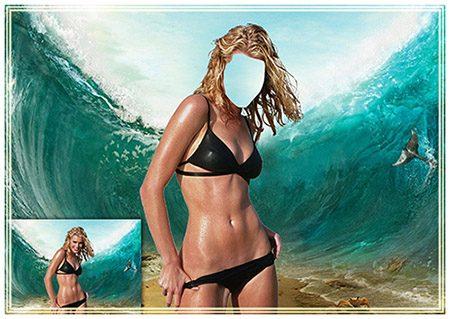 Женский фотошаблон - На морском дне