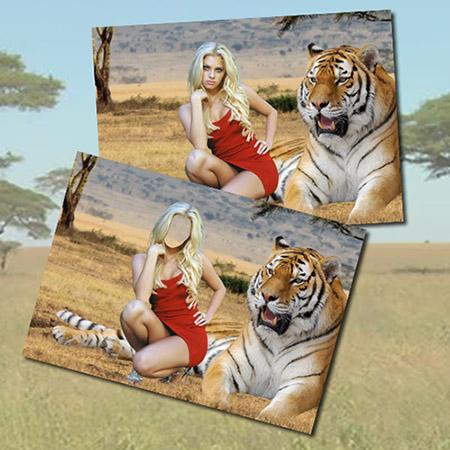 Женский фотошаблон - Девушка и тигр