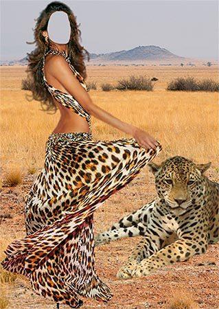 Женский фотошаблон - Девушка и леопард