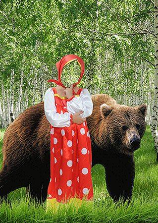 Детский фотошаблон - Маша и медведь