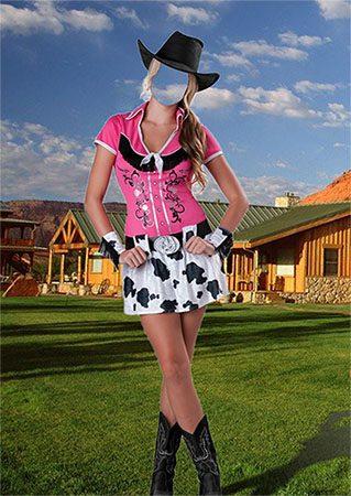 Женский фотошаблон - На ранчо