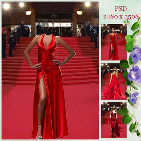 Женский фотошаблон — В красном платье