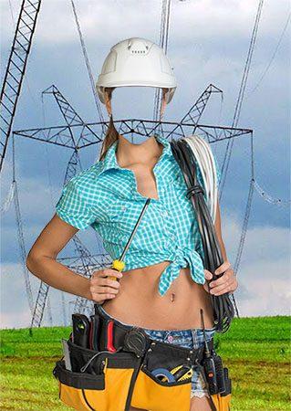 Электромонтажник - Женский фотошаблон