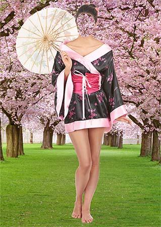 Женский фотошаблон - Сакура цветет