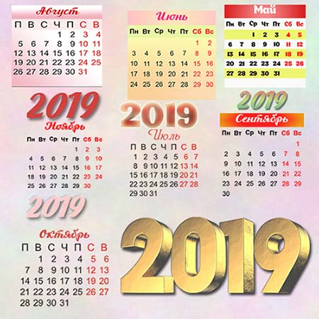 7 календарных сеток на 2019 год