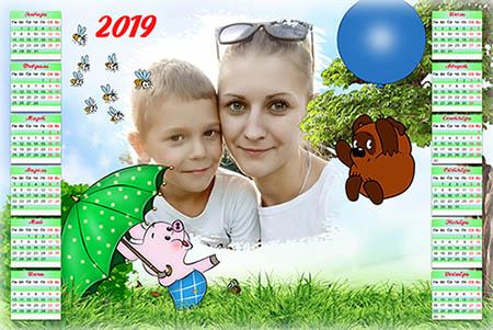 Календарь на 2019 Год - Вини-Пух и Пятачок