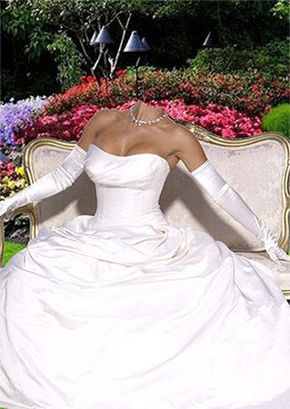 Женский фотошаблон - В бальном платье в летнем саду