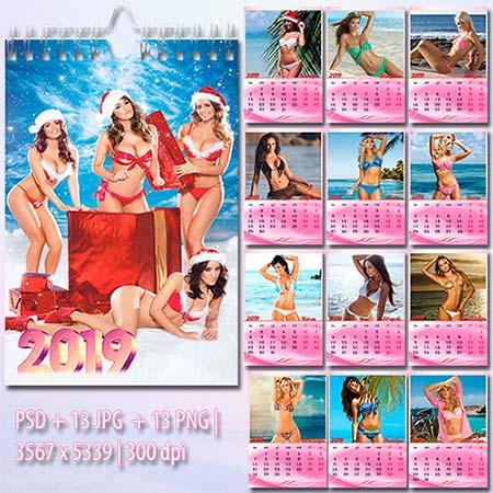 Настенный перекидной календарь на 2019 год - Девушки и море
