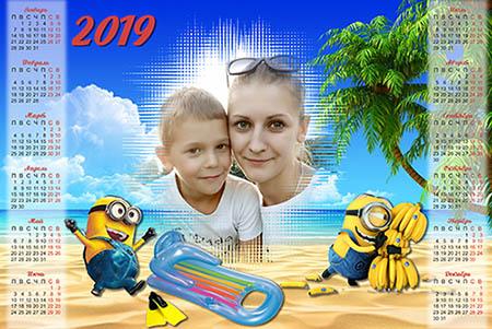 Календарь на 2019 год - Миньоны на банановом острове
