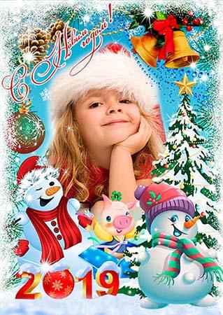 Рамка для фотошопа - Новогодние снеговики