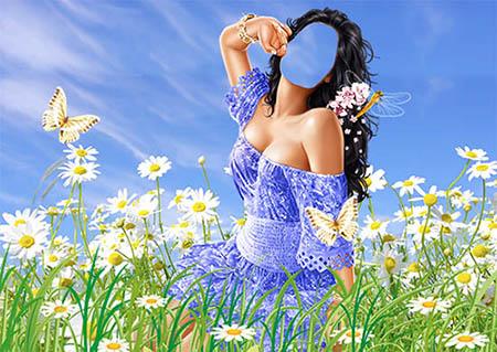 Женский фотошаблон - На цветочной лужайке
