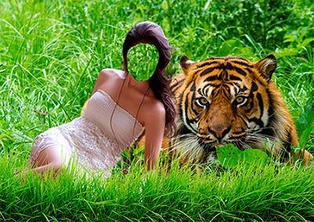 Женский фотошаблон - С тигром