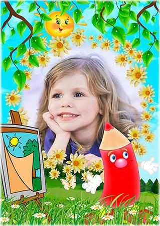 Детская рамка - Нарисовано карандашом