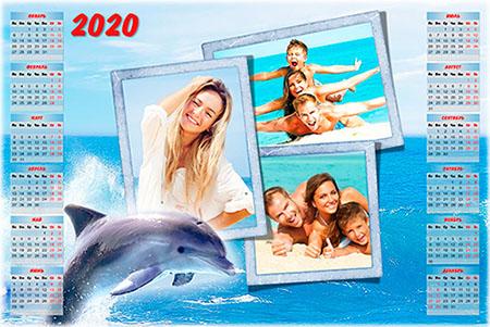Календарь-рамка на 2019, 2020 год - Море, лето, дельфины