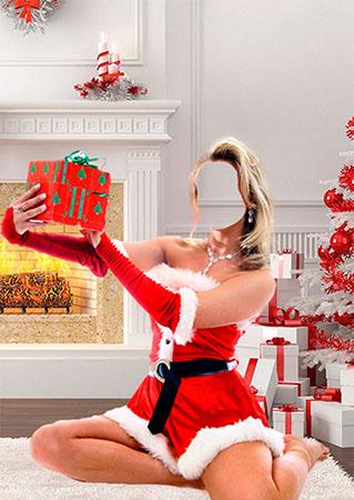 Костюм для фотомонтажа снегурочки с подарками