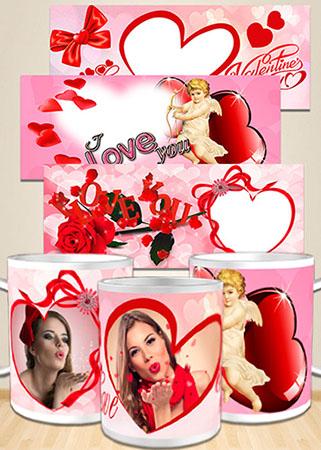 Шаблоны для кружки в подарок на день Святого Валентина