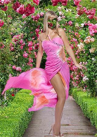 Фотошаблон для женской фотографии - В розовом платье